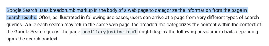 Google Docs explanation of breadcrumbs