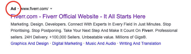 Paid Search Ad are marked with an 'Ad' label